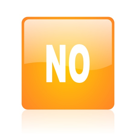 no orange square glossy web icon