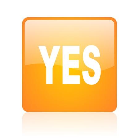 yes orange square glossy web icon Stock Photo - 18361008