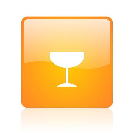 champain: glass orange square glossy web icon  Stock Photo