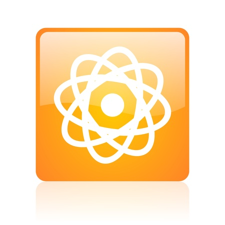 atom orange square glossy web icon