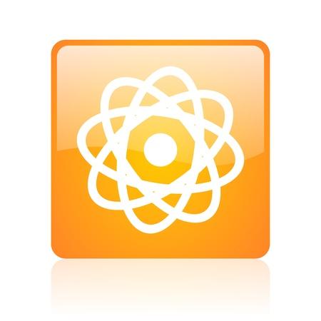 atom orange square glossy web icon Stock Photo - 18361836