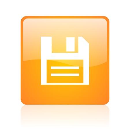 disk orange square glossy web icon  photo