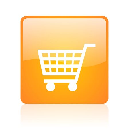 shopping cart orange square glossy web icon  photo