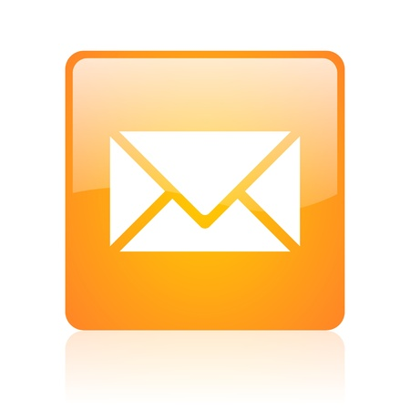 mail orange square glossy web icon  photo