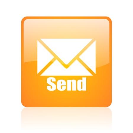 send orange square glossy web icon  photo