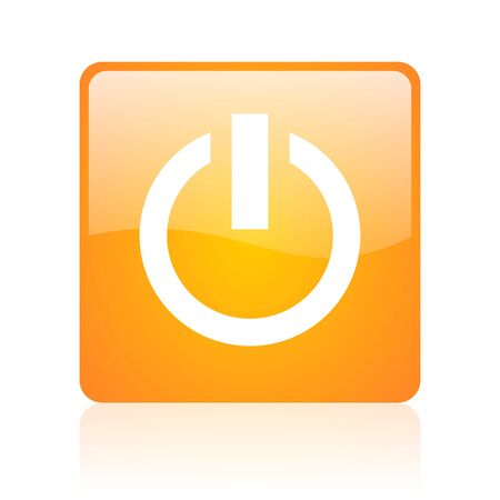 power orange square glossy web icon  photo