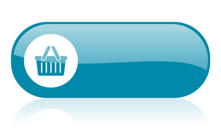 shopping cart blue web glossy icon Stock Photo - 18444462