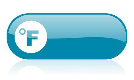 fahrenheit: fahrenheit icono web brillante azul