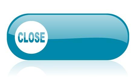 close blue web glossy icon Stock Photo - 18444493