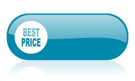 best price blue web glossy icon Stock Photo - 18444661