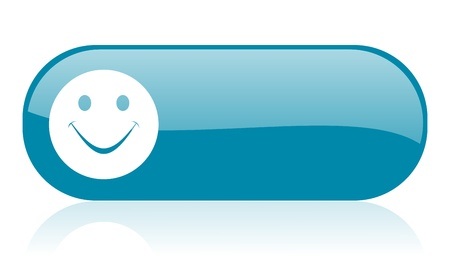 smile blue web glossy icon 