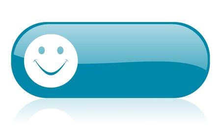 smile blue web glossy icon Stock Photo - 18444290