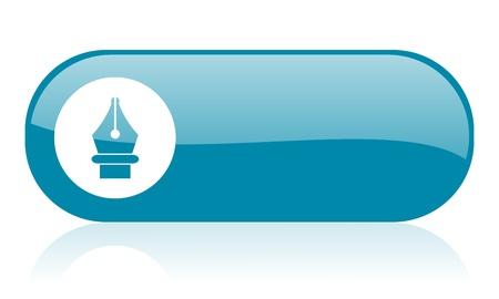 pen blue web glossy icon   Stock Photo