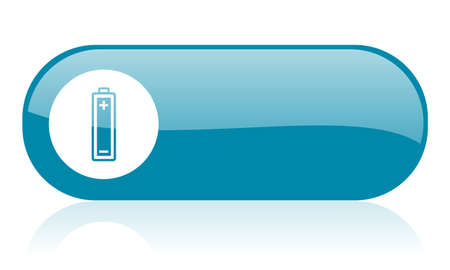 battery blue web glossy icon