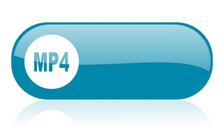 mp4: mp4 blue web glossy icon   Stock Photo