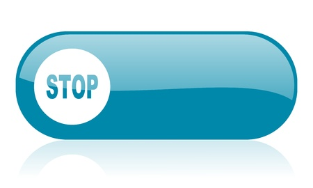 stop blue web glossy icon  Stock Photo - 18444349