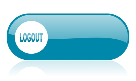 logout blue web glossy icon   Stock Photo