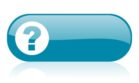 question mark blue web glossy icon 
