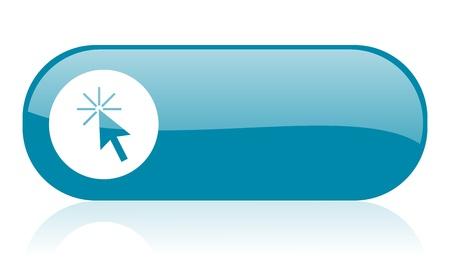 click here blue web glossy icon Stock Photo - 18444328