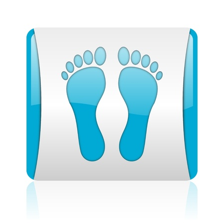 footprint blue and white square web glossy icon Stock Photo - 18445399