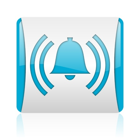 alarm blue and white square web glossy icon