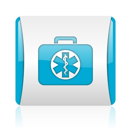 rescue kit blue and white square web glossy icon  photo