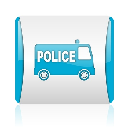 police blue and white square web glossy icon Stock Photo - 18445568