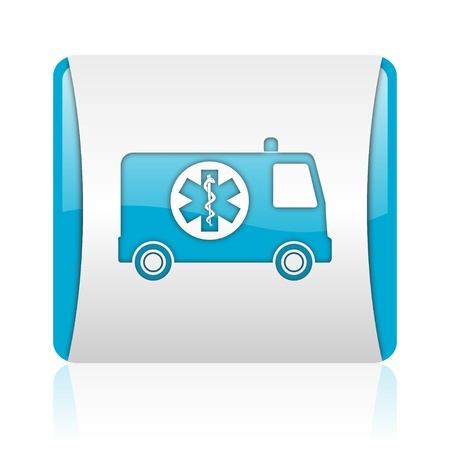 ambulance blue and white square web glossy icon