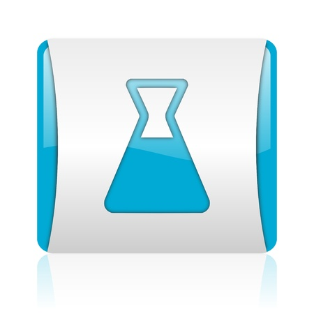 chemistry blue and white square web glossy icon  photo