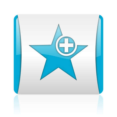 star blue and white square web glossy icon Stock Photo - 18445321