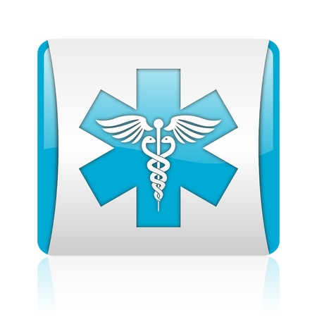 caduceus blue and white square web glossy icon Stock Photo - 18445720