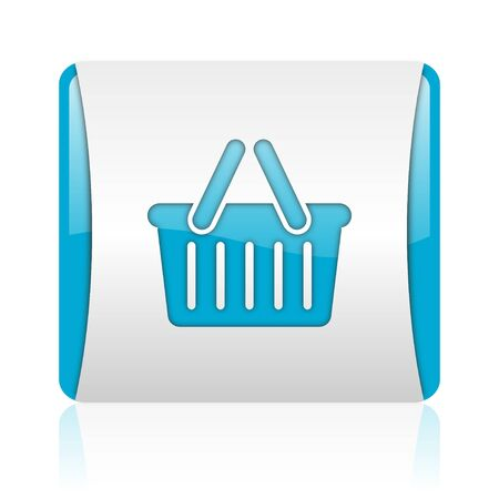 shopping cart blue and white square web glossy icon  photo