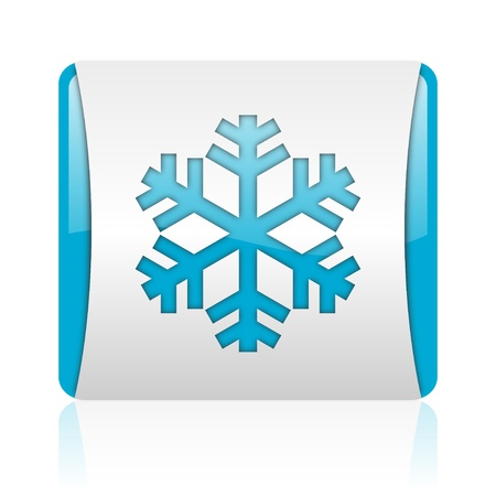 snowflake blue and white square web glossy icon Stock Photo - 18445721