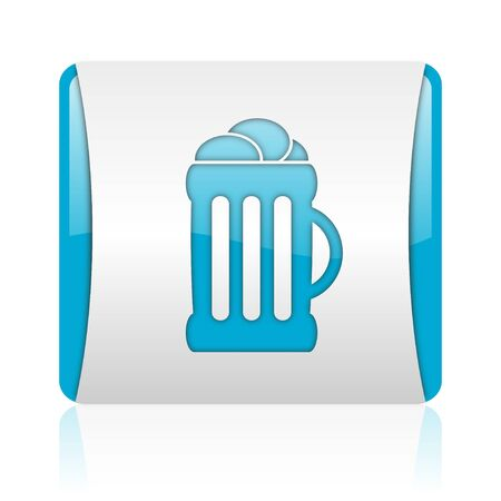 beer blue and white square web glossy icon