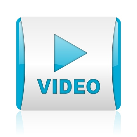 video blue and white square web glossy icon  photo