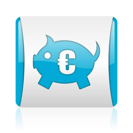 piggy bank blue and white square web glossy icon  photo