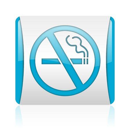 no smoking blue and white square web glossy icon Stock Photo - 18445733