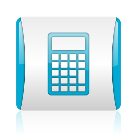calculator blue and white square web glossy icon