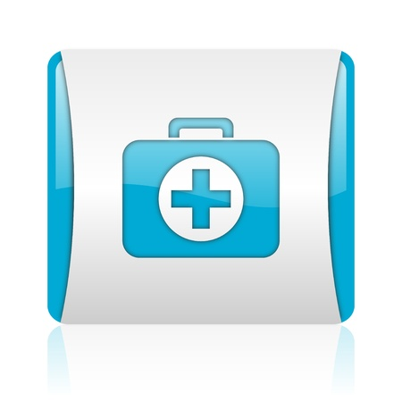 first aid kit blue and white square web glossy icon  photo