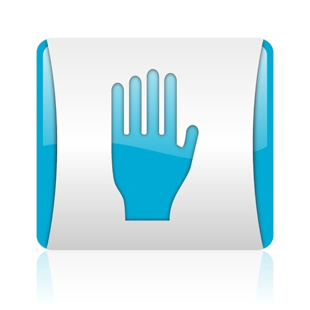 stop blue and white square web glossy icon Stock Photo - 18444582