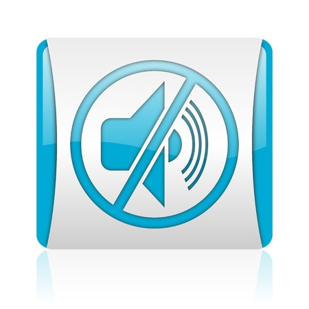 mute blue and white square web glossy icon Stock Photo - 18445731
