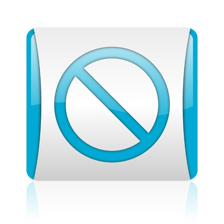 access denied blue and white square web glossy icon