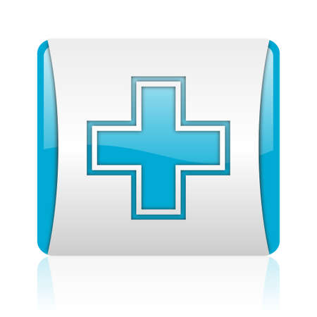 pharmacy blue and white square web glossy icon  photo
