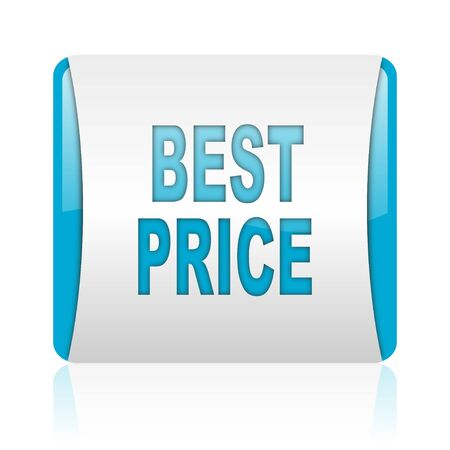 best price blue and white square web glossy icon Stock Photo - 18445623