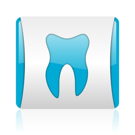 tooth blue and white square web glossy icon