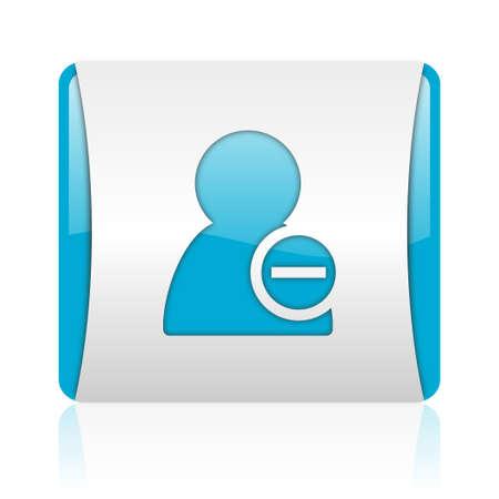 remove contact blue and white square web glossy icon  photo