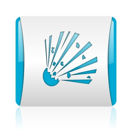 bomb blue and white square web glossy icon  photo