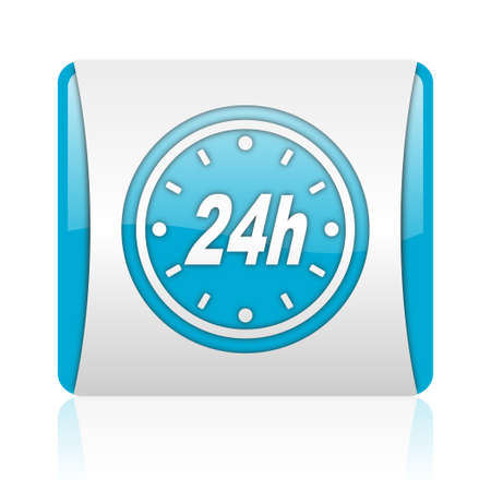 24h blue and white square web glossy icon  photo