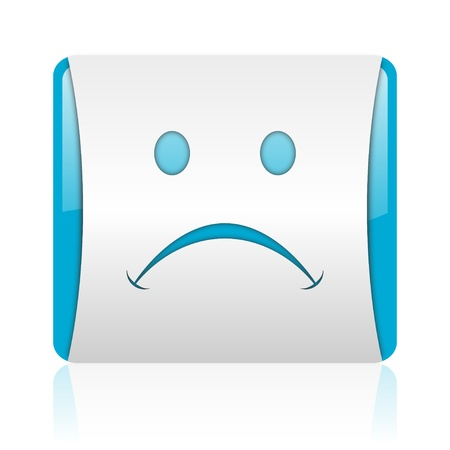 cry blue and white square web glossy icon Stock Photo - 18444174