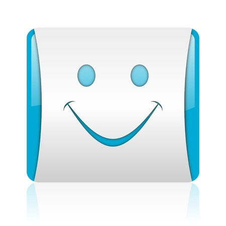 smile blue and white square web glossy icon Stock Photo - 18444281